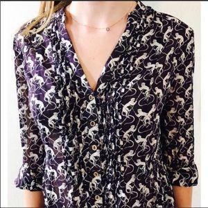 Maeve anthro MONKEY 100% cotton tunic blouse